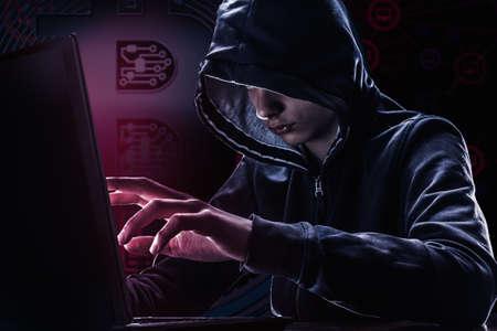 Foto de Hacker and bitcoin security password hacking, bit coin virus hack. Concept danger data money and business in Internet - Imagen libre de derechos