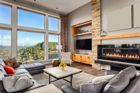 Photo for Furnished living Room with view on sunny afternoon - Royalty Free Image