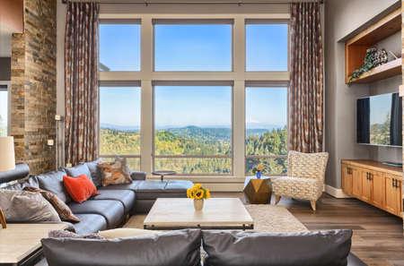 Foto de Furnished living room in upscale new home - Imagen libre de derechos