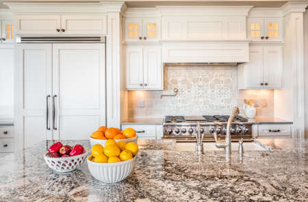 Kitchen Detail in New Luxury Home with Colorful Fruit