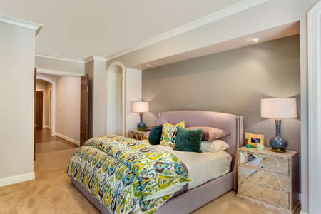 Furnished master bedroom in new home