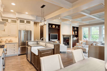 kitchen, dining and living rooms in new luxury home