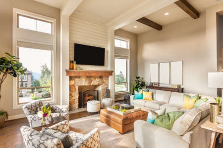 Photo for Beautiful living room with hardwood floors and amazing view - Royalty Free Image