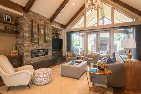 Foto de Furnished living Room in Luxury Home - Imagen libre de derechos