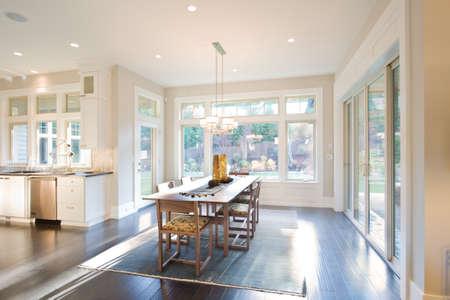 Foto de Dining Room Interior with Hardwood Floors in New Luxury Home - Imagen libre de derechos