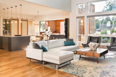 Photo pour Beautiful living room interior in new luxury home with view of kitchen. Home interior with hardwood floors and open floorplan showing dining room, kitchen, and living room. Has high vaulted ceilings. - image libre de droit