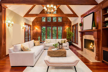 Photo pour Beautiful living room interior with hardwood floors and fireplace in new luxury home. Includes built-ins with television and vaulted ceilings. - image libre de droit