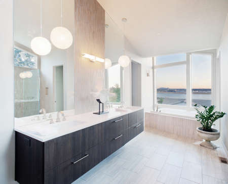 master bathroom in newly constructed luxury home