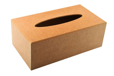 Paper tissues replacement handmade wooden dispenser box isolated on white
