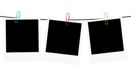 Illustration pour Vector illustration of three empty blank photo polaroid frame slides hanging on a rope with colorful paperclips over white background - image libre de droit