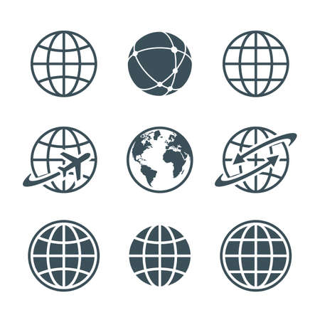 Illustration for globe, earth, world icons set isolated on white background. ball wire, globe and airplane, globe with arrow. vector illustration - Royalty Free Image