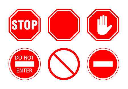 Ilustración de stop sign set, isolated on white background. vector illustration - Imagen libre de derechos