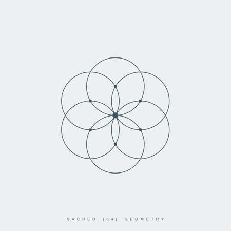 Illustration pour flower of life. sacred geometry. lotus flower. mandala ornament. esoteric or spiritual symbol. isolated on white background. - image libre de droit