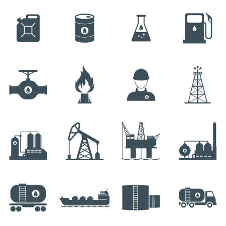 Illustration pour oil and gas industry icon set. oil drilling, refining, production, transportation and storage process. isolated on white background. - image libre de droit