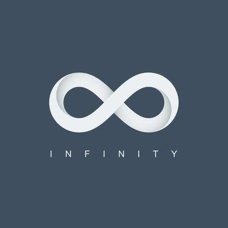 Ilustración de infinity symbol or icon. infinite logo. mobius loop. limitless sign. isolated on blue background. vector illustration - Imagen libre de derechos