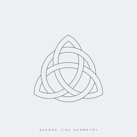 Illustration for thin line triquetra symbol interlaced with a circle. outline celtic trinity knot icon. lineart trinity sign. sacred geometry. - Royalty Free Image