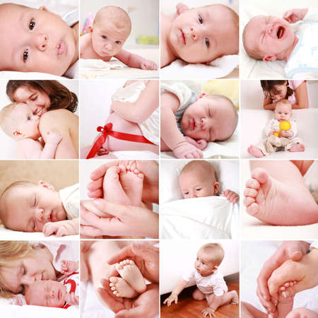 Photo pour Collage of different photos of babies and family moments - image libre de droit