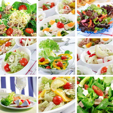 Different delicious vegetable and fruit salads