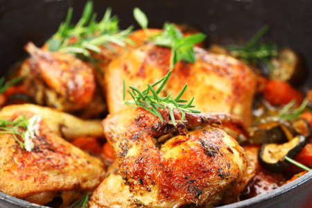 Tasty grilled chicken with vegetable and herbs