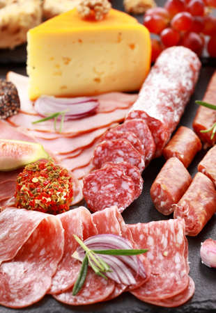 Antipasto catering platter with salami and cheeseの写真素材