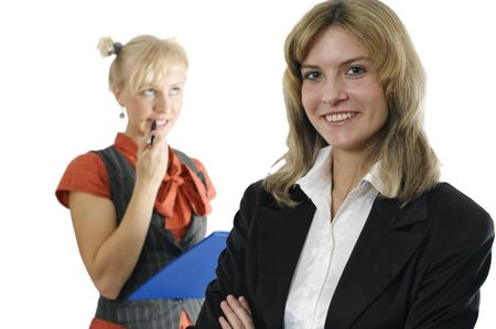 Young business woman and its subordinate on a background