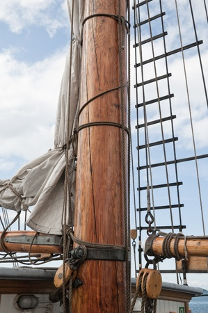 Old sailing ship masts and sails and rigging