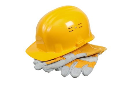Photo pour Tools and helmet of the builder, it is isolated on white - image libre de droit
