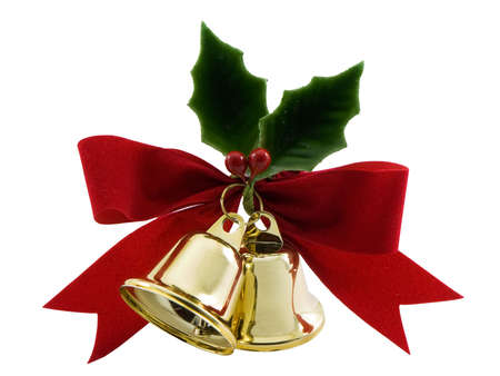 Foto für Christmas bells, holly and a red bow isolated on white - Lizenzfreies Bild
