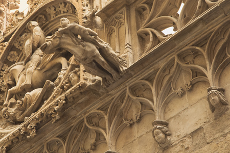 Closeup view of gothic part of Barcelona (Catalunya, Spain)