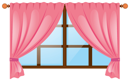 Window with pink curtain illustration