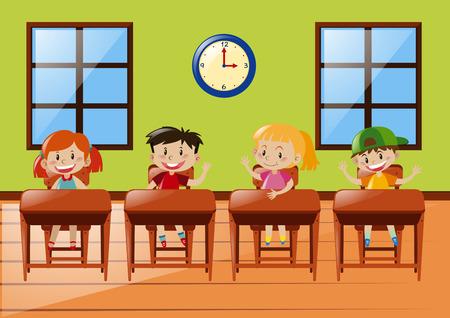 Illustration pour Four students sitting in classroom illustration - image libre de droit