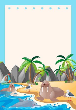 Border template with sea animals illustration