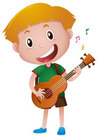 Illustration pour Little boy playing guitar alone illustration - image libre de droit