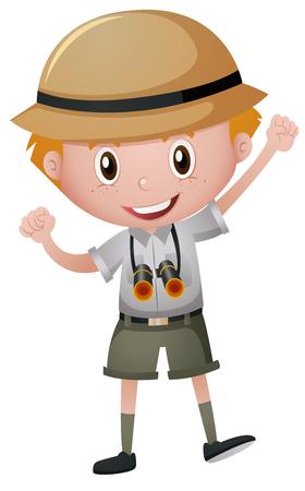 Illustration pour Little boy in safari costume illustration - image libre de droit