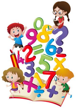 Ilustración de Kids and numbers in the book illustration - Imagen libre de derechos