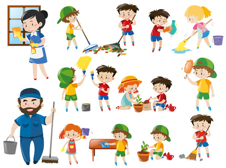 Adults and kids in various cleaning positions illustration