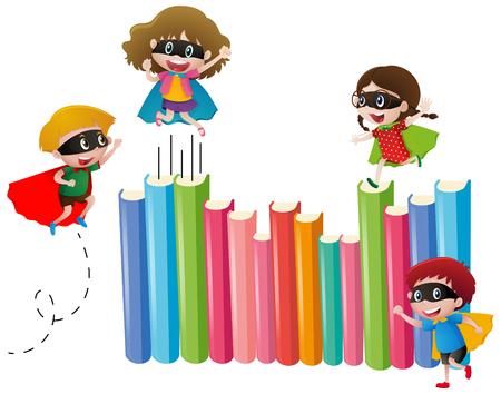 Illustration pour Kids in hero costume and many books illustration - image libre de droit