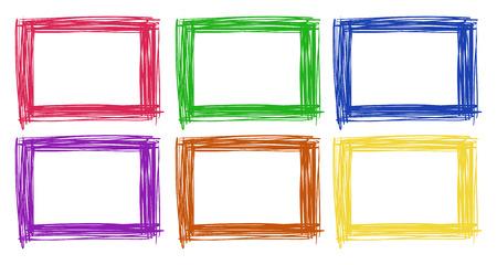Illustration pour Frame design in six color illustration - image libre de droit