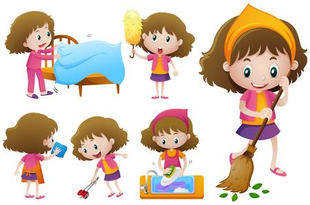 Little girl doing different housework illustration