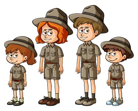 Illustration pour Family members in safari outfit illustration - image libre de droit