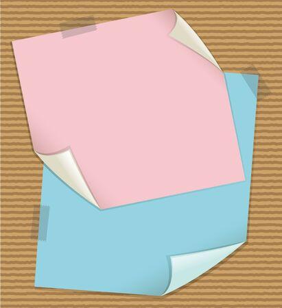 Pink and blue notes on cardboard background illustration