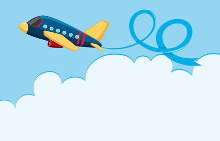 Ilustración de Sky scene with airplane and white cloud illustration - Imagen libre de derechos
