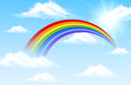 Ilustración de Colorful rainbow in blue sky illustration - Imagen libre de derechos