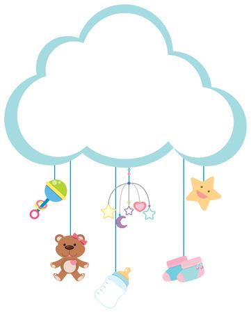 Ilustración de Border template with baby items illustration - Imagen libre de derechos