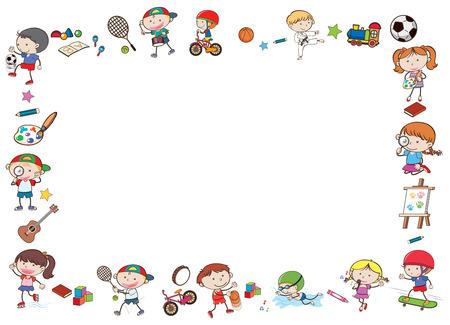 Illustration pour Border template with kids playing sports illustration - image libre de droit