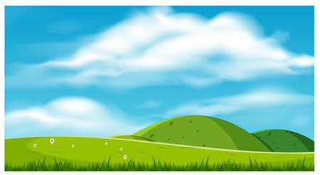 Ilustración de A Beautiful Scenery with Hills illustration. - Imagen libre de derechos