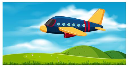 Ilustración de Airplane Flying over Hills illustration. - Imagen libre de derechos