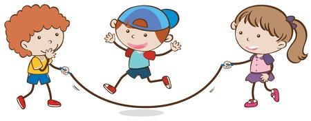 Kids Skipping Rope on White Background illustration
