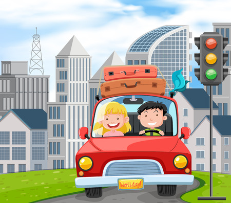 Illustration for A Couple Travel on Road Trip illustration - Royalty Free Image