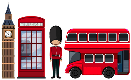 Illustration pour An British Travel Element on White Background illustration - image libre de droit